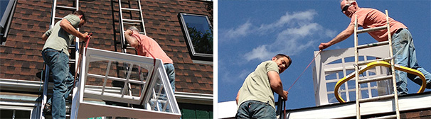 Professional roofer Bob Eberenz and a nervous Rob add a cupola to cap off a brand new roof.
