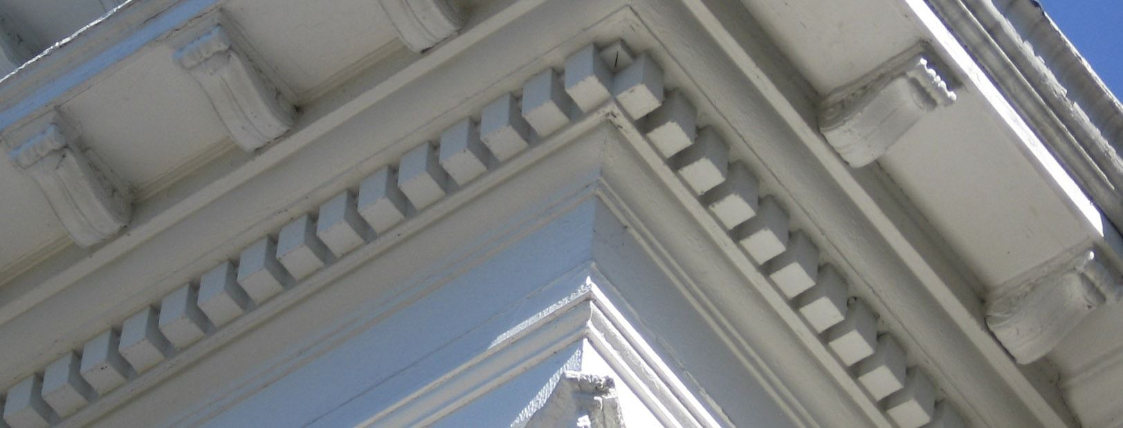 Closeup of dentils on Greek-styled architecture